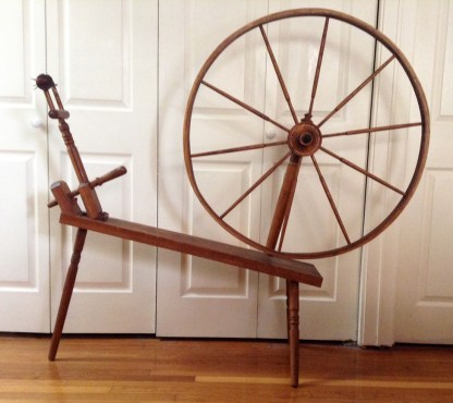"A very plain great wheel with direct drive spindle head, from late ""hippy period."" Note thick rim on drive wheel."