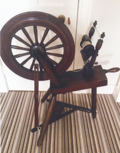 Rear view of spinning wheel.