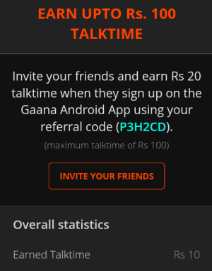 Gaana refer and earn 100 rs