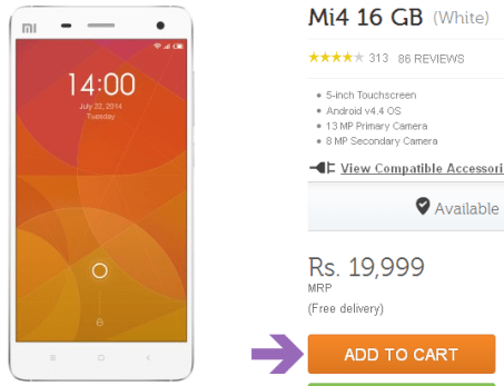 Xiaomi mi4 key specifications India