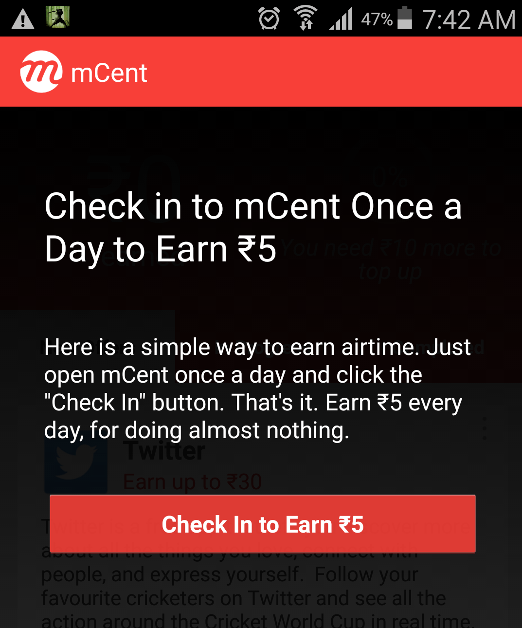 daily login to get free credits from mcent
