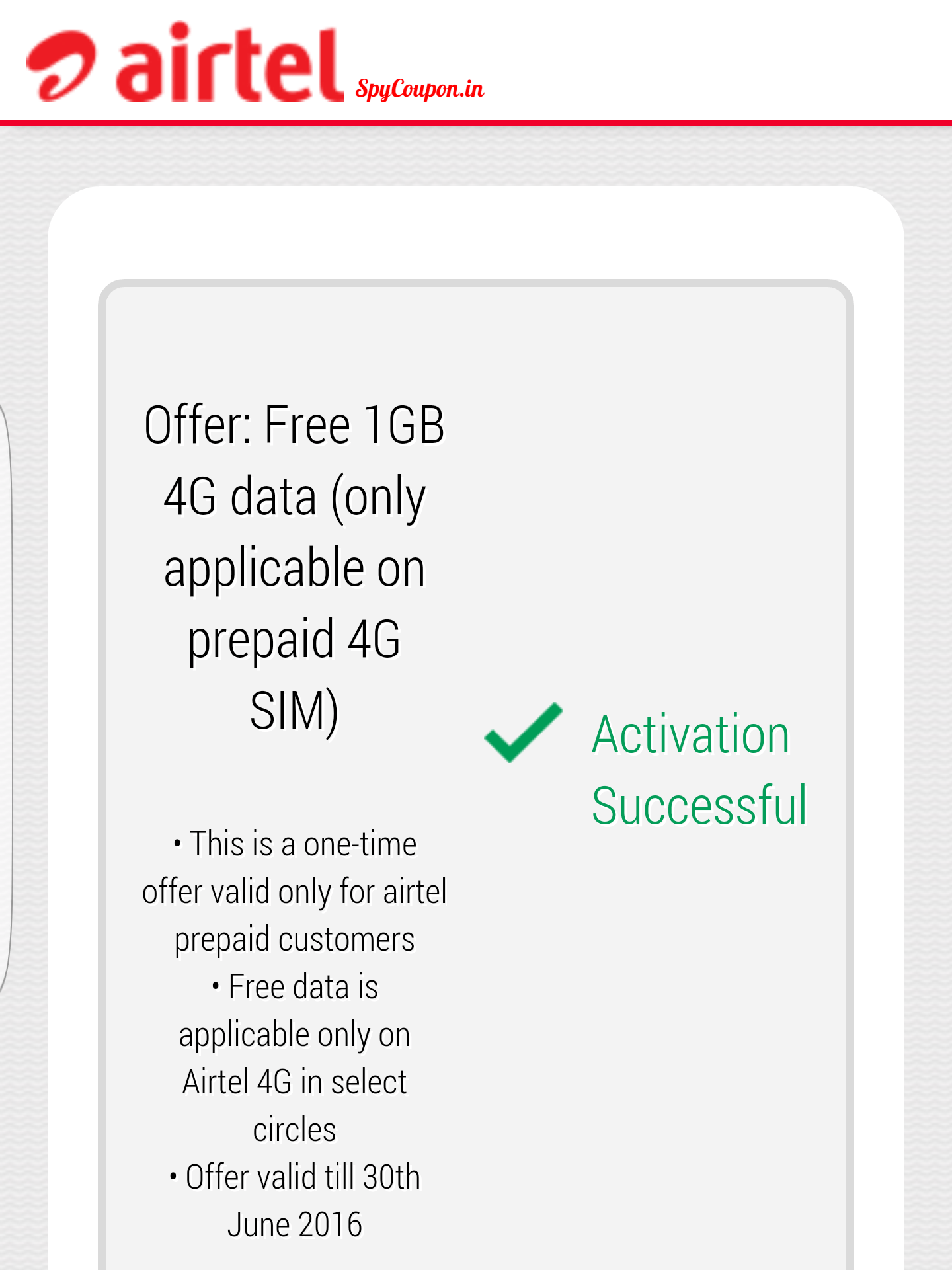 Airtel 4G Offer : Get 1 GB Free Data Instantly! | SpyCoupon