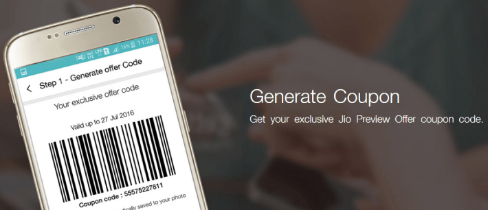how to generate jio coupon