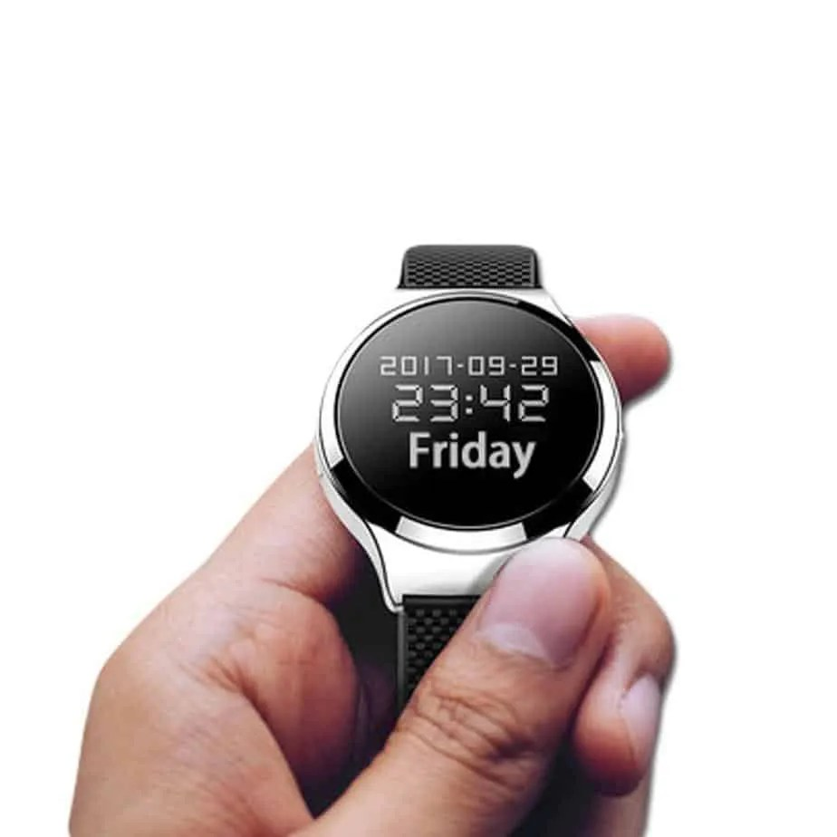 Audio spy watch chrome and black design