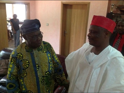 Gov. Rabi'u Musa Kwankwaso of Kano state and former President Olusegun Obasanjo when the former visited the later in Abeakuta today, Saturday, before they went into closed meeting.