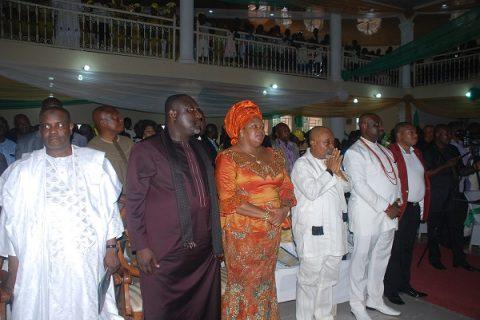Speaker House of Representatives, Hon. Tambuwal, Gov of Imo State, Owelle Rochas Okorocha and wife, Senator Chris Ngige, HRH eze samuel Ohiri during the church service at Okigwe
