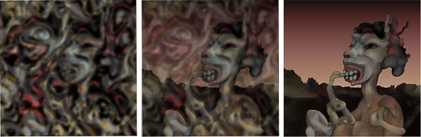 Left: the original digital decalcomania source image. Middle: a composite of the original and finished images. Right: the finished image.