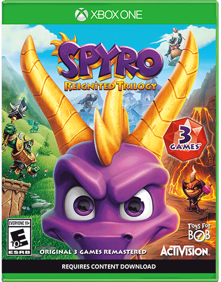 Spyro Reignited Trilogy. The Spyro Reignited Trilogy lets players glide to new heights, unleash fire-breathing attacks, recover stolen treasure and explore lush environments filled with new detail to bring the dragon realms to life like never before. The remastered collection commemorates Spyro's 20th anniversary and includes the three games that defined a generation: Spyro the Dragon, Spyro 2: Ripto's Rage!, and Spyro: Year of the Dragon. Retails for $29.98