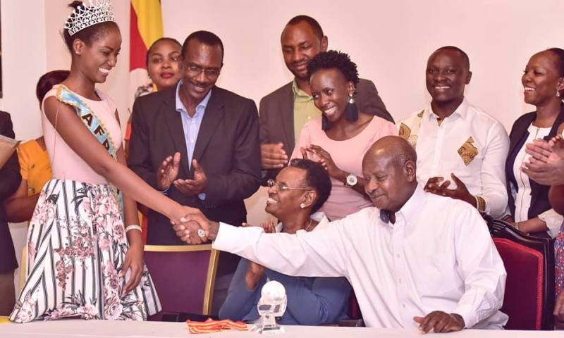 President Museveni Hosts Miss World-Africa Quiin Abenakyo To A Sumptuous Dinner!