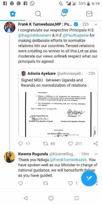 Minister Tumwebaze tweet