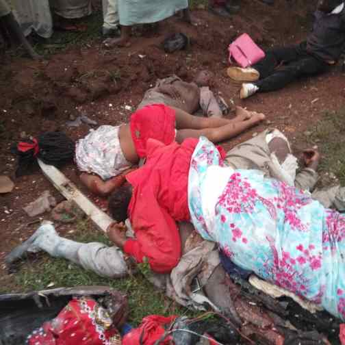 Bodies of the accident victims
