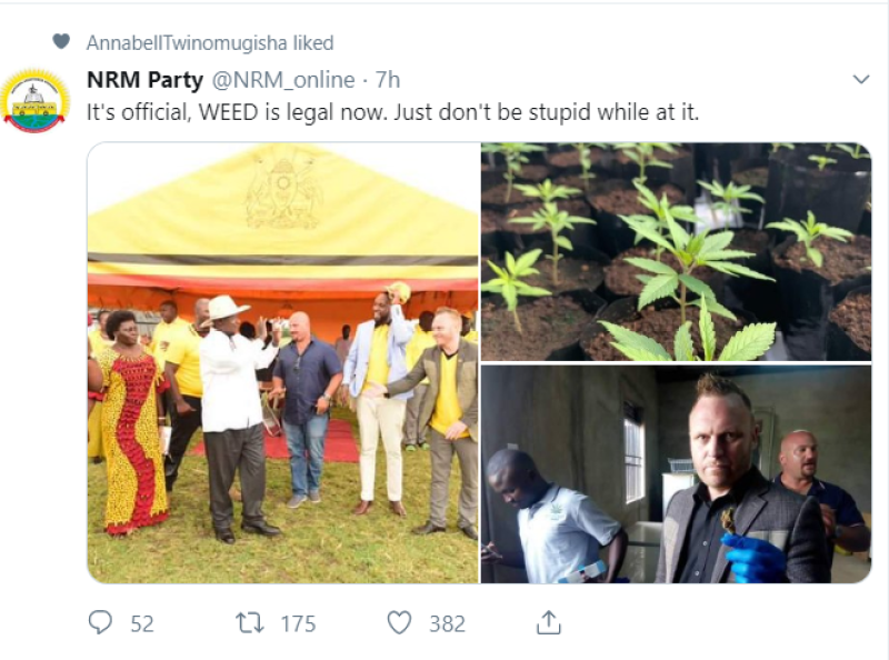 NRM tweet on weed
