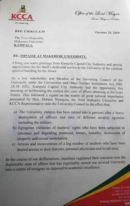 Part of the KCCA letter to Makerere University