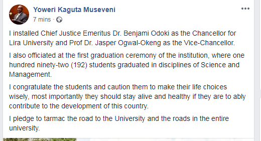 President Museveni's post about installation of DCJ Benjamin Odoki as Lira Varsity VC