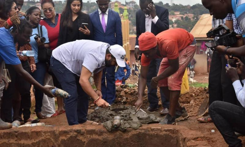 Photo Evidence: Ruparelia Foundation Kick-starts Construction Of Sanitation Facilities In Kamwokya Ghettos After 'Selling Goats'!