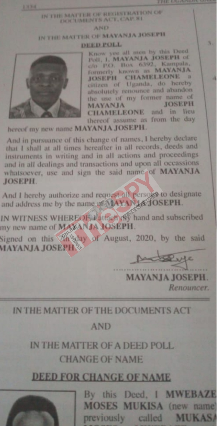 Singer Joseph Mayanja Legally Dumps Stage Name Chameleon Ahead Of 2021 General Elections