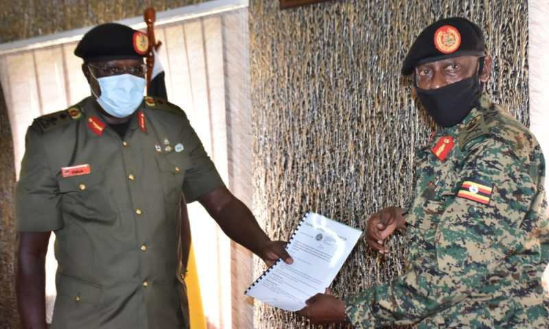 Peaceful Power Handover In UPDF: Gen.Emmanuel Rwashande Takes Over Office From Gen Innocent Oula As New CIMIC Boss