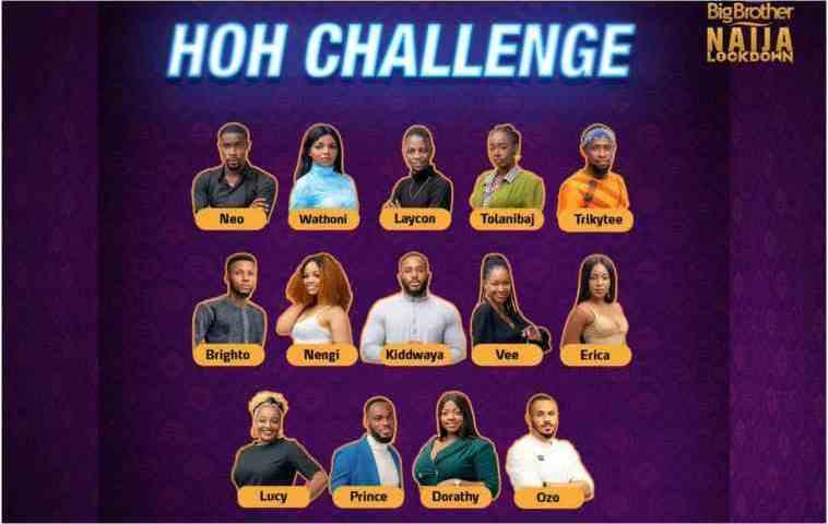 Big Brother Naija: Laycon,Trikytee,Ozo & Dorathy Eye The Top 5 Positions As Nengi Scoops Head Of House Challenge