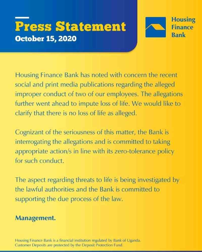 Housing Finance Bank Finally Speaks Out On Employees Bonking Sessions At Kololo Branch
