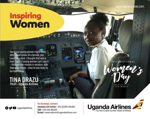 Meet Tina Drazu: Uganda Airlines Senior Female Pilot Flying Country's Flag To The Sky