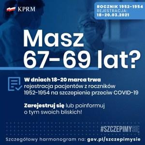 Zapraszamy do rejestracji roczniki 1952-1954 na szczepienia