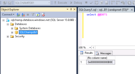Screenshot DBTS timestamp sqlchamp