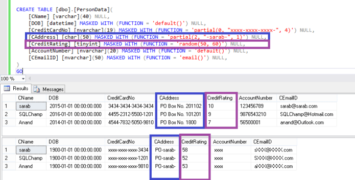 Configure Dynamic Data Masking using T-SQL