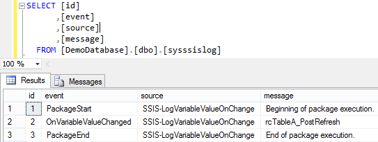 Log SSIS Variable Value 5 - Log Entries 1