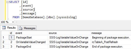 Log SSIS Variable Value 5 - Log Entries 1