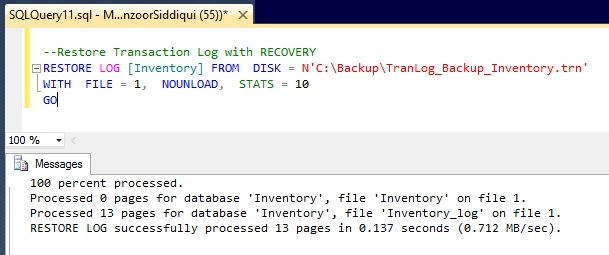 Restore Log WITH RECOVERY