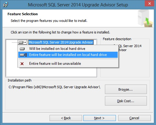Feature Selection in Upgrade Advisor