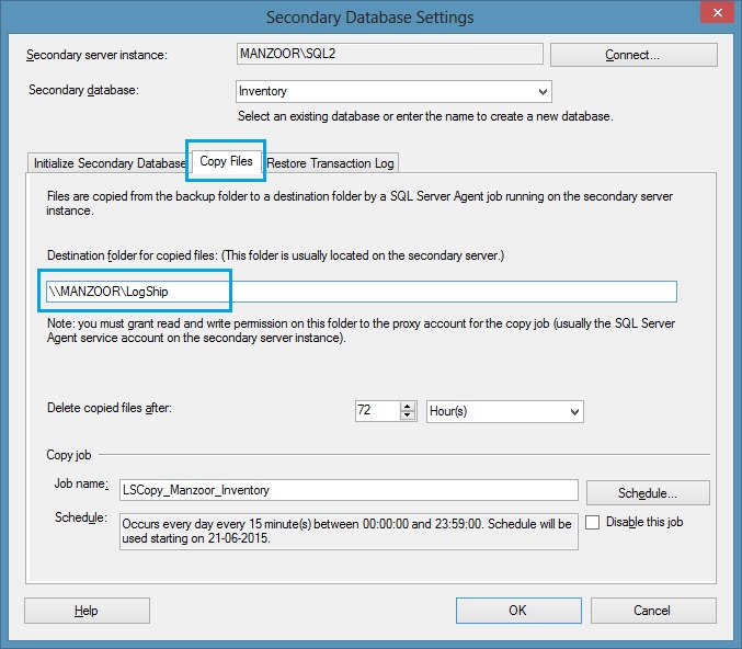 Secondary Database Settings - Copy Files