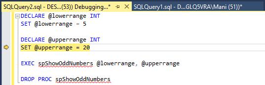 SQL Server debugging - Step over - after