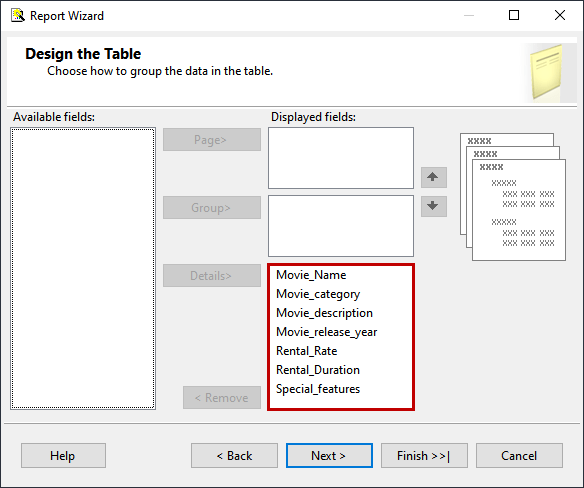 Move fields to displayed screen