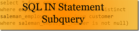 SQL In Statement With Subquery