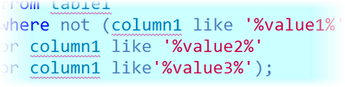 SQL Not Like with Multiple Values - SQL Training Online