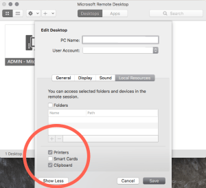 hosted printers mac rdc
