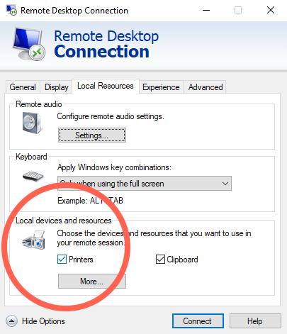 hosted printers rdc windows