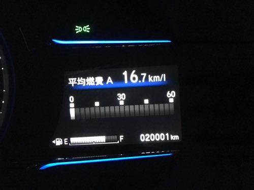 ホンダ ヴェゼルの燃費 20000km時点