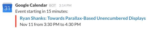 Google event announcement in Slack
