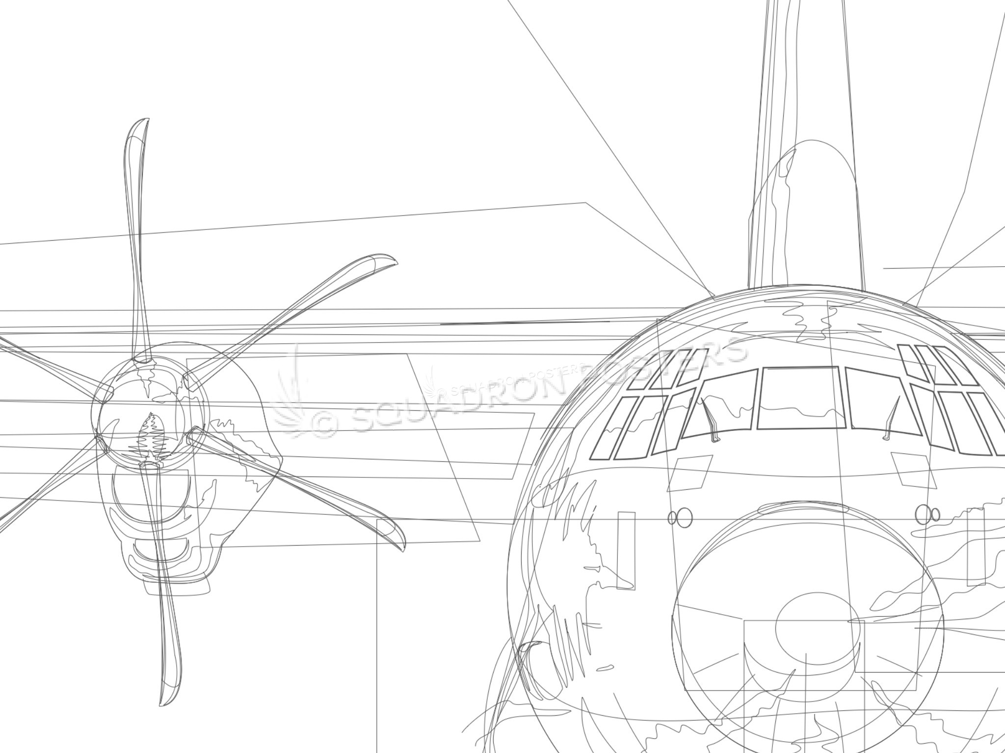 C 130j Jet Black Lithograph Squadron Posters