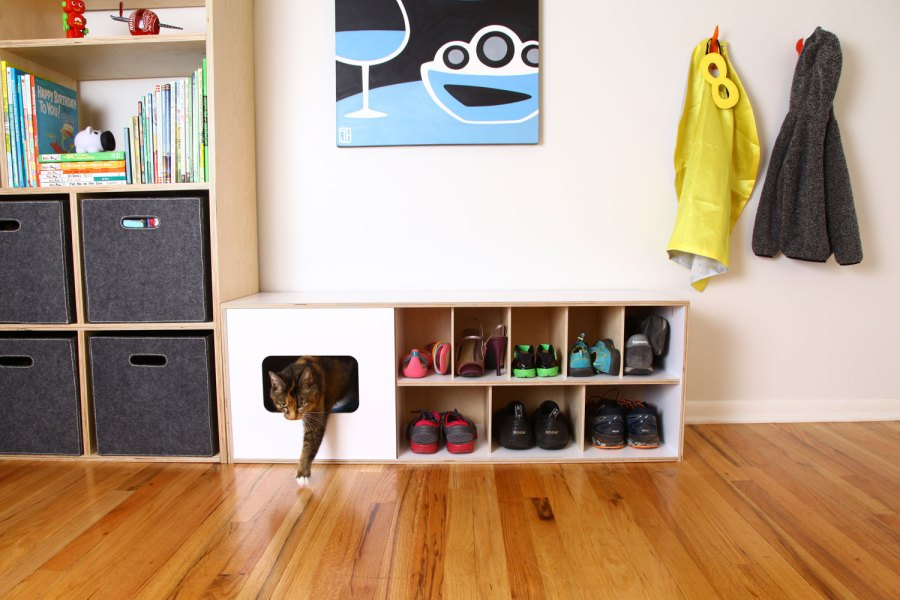 Mouse modern shoe bench with cat home ROOM CAT EXIT