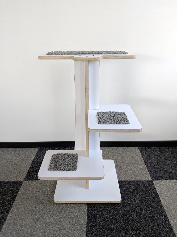 Acacia modern cat tree in white BIRCH and FOG inserts