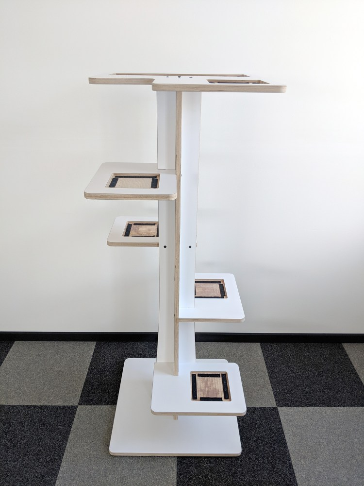Modern cat tower in white birch and showing velcro