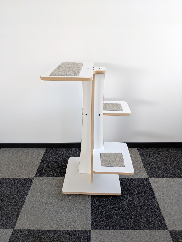 Acacia modern cat tree in white SDF and hamster inserts 360-3