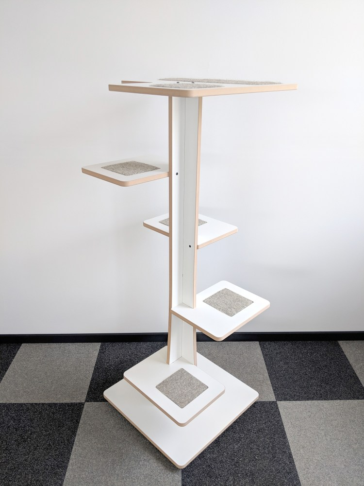 Modern cat tower in white SDF and hamster inserts 360-2