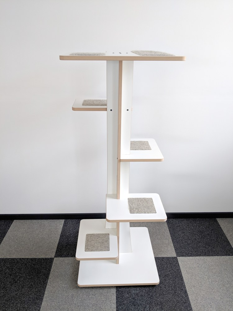 Modern cat tower in white SDF and hamster inserts 360-3