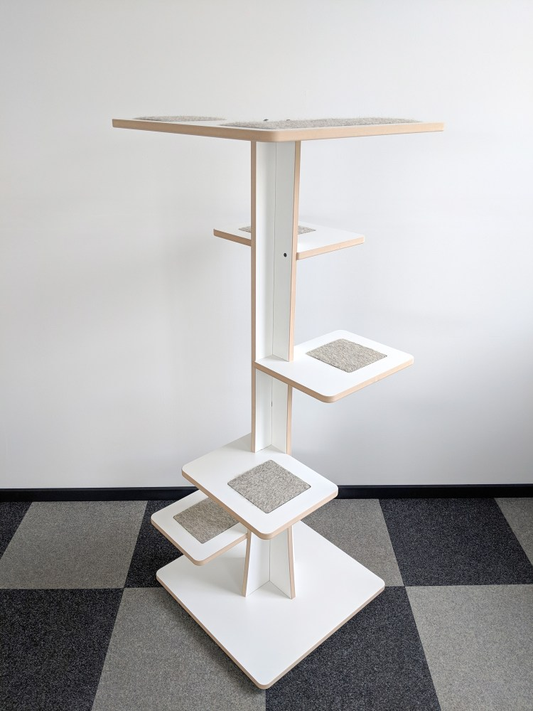 Modern cat tower in white SDF and hamster inserts 360-4
