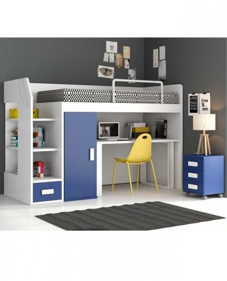 gallery of lit combin mezzanine bleu ado pas cher avec rangements of lit mezzanine avec bureau et armoire with lit surlev avec rangement