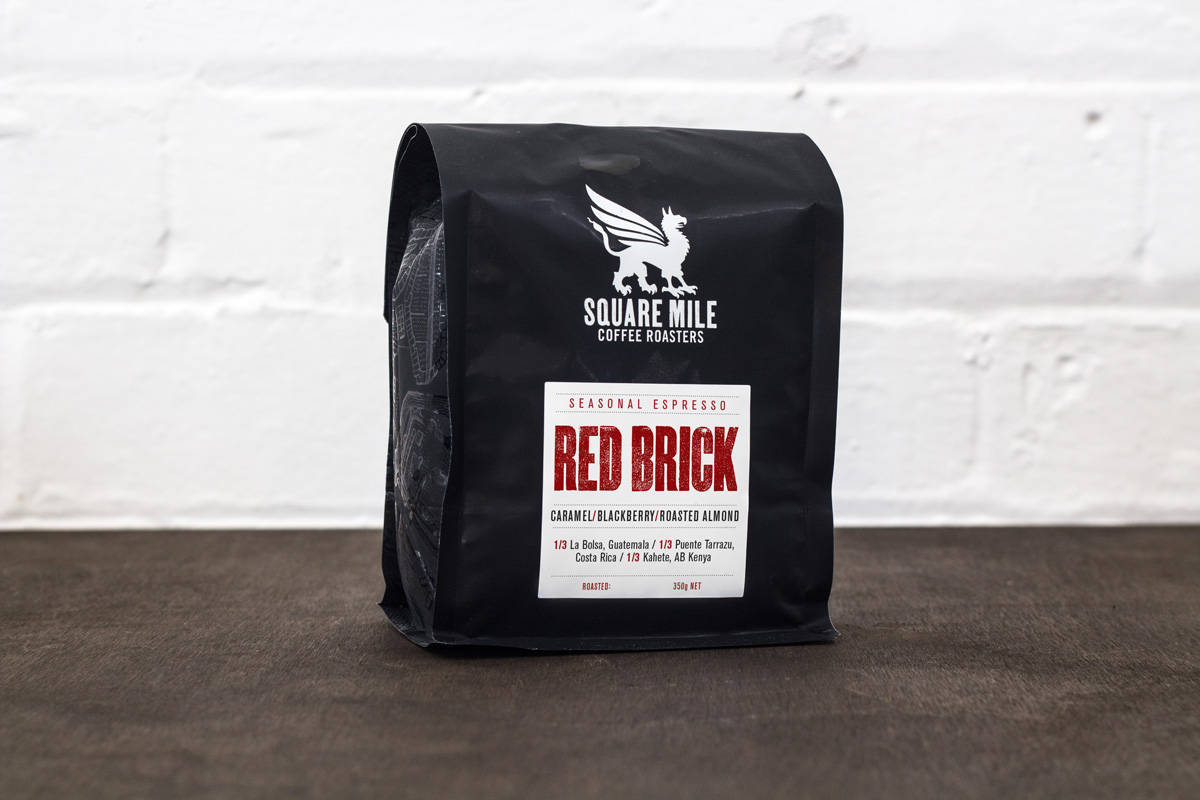Bag of red brick coffee